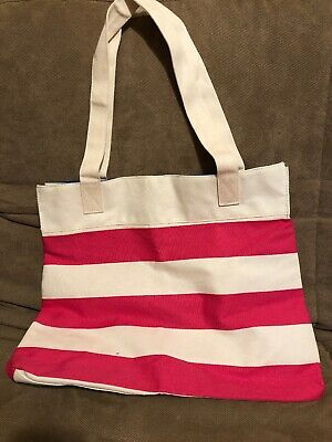 Details about  /New Lancome Large Black//Tan Striped Tote Beach Canvas Bag