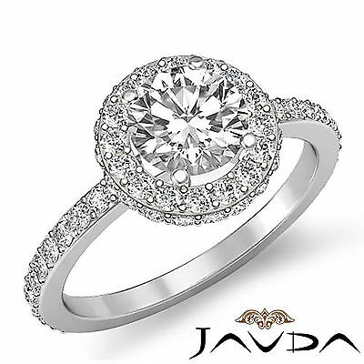 Gleaming Round Diamond Unique Engagement Ring GIA I SI1 14k White Gold 1.85 ct