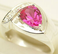 Lab Created Sapphire Silver Ring, September, 79