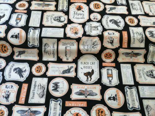 Cuarto gordo tela de algodón acolchado Raven Calabaza de Halloween Gato Negro