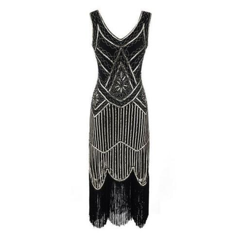 1920s Roaring 20s Flapper Gatsby Costume Sequins Outfit Dress UK Ladies