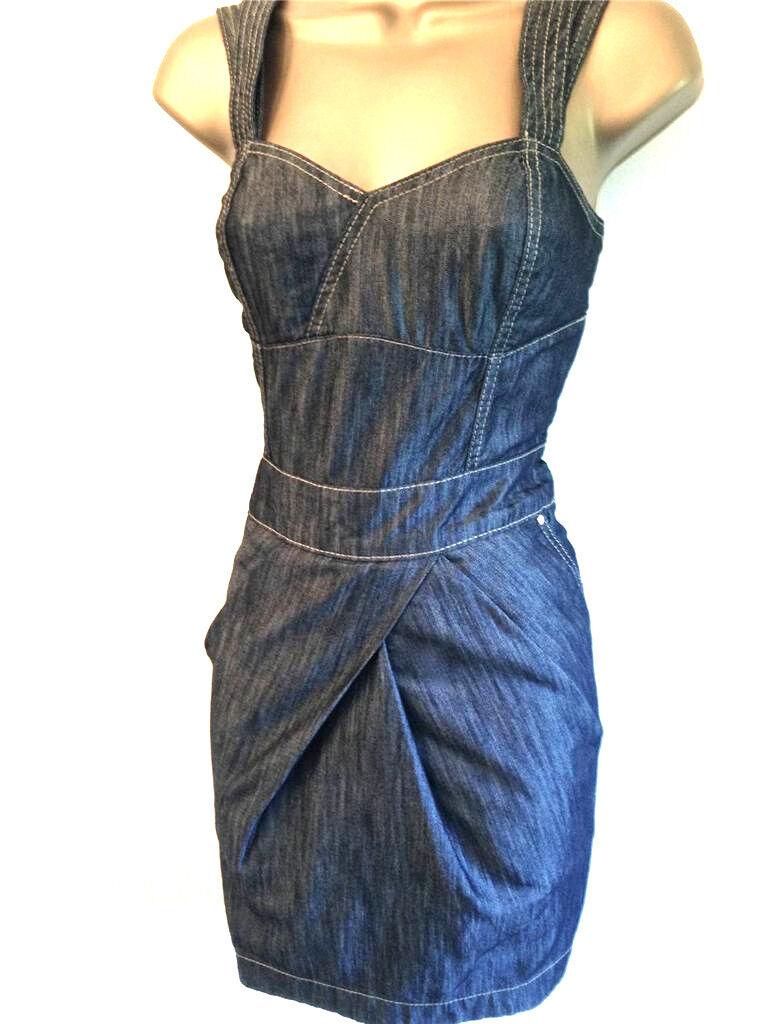 Womens KAREN MILLEN Dark bluee Denim Smart Casual every Day Mini Summer Dress UK