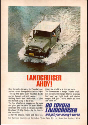 """1967 TOYOTA LANDCRUISER 4WD J40 AD A1 CANVAS PRINT POSTER FRAMED 33.1""""x23.4"""""""