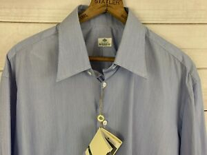 NWT-Borrelli-Napoli-Made-in-Italy-Oxford-Dress-Shirt-Blue-Stripe-Size-17-32-33