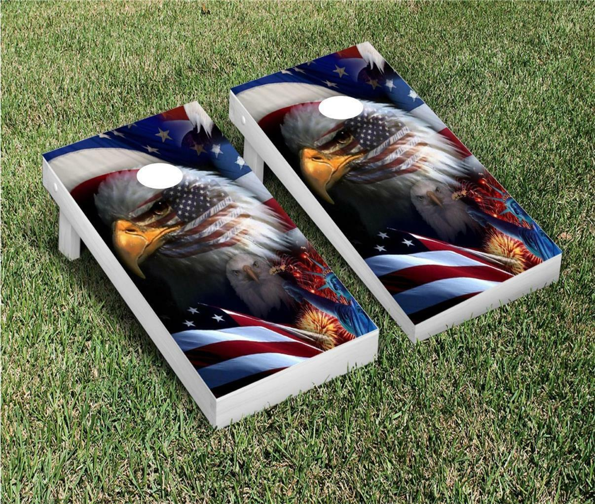 American Flag and eagle Cornhole Board Wrap  vinyl decal (AFE2)  online shopping sports