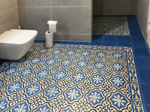 Details Zu 1m² Zementfliesen Iraquia Blau Bodenfliesen Fußboden Badezimmer Küche Flur