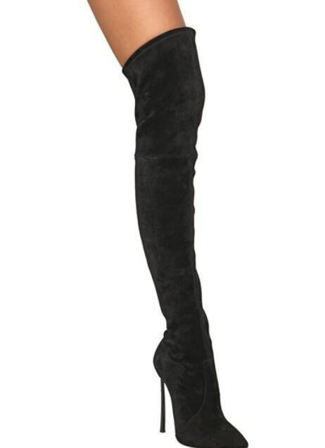 Pull On scarpe donna High Heel Stiletto Over Thigh Knee High avvio Strech Sz New