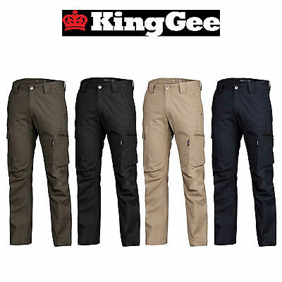 Mens CARGO PANTS Work Wear Trousers 100/% COTTON Tradie Pockets Military 310gsm