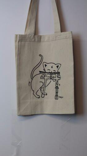 Beige Cotton Canvas Durable Multi Purpose Screen Print Reusable ECO Tote Bag