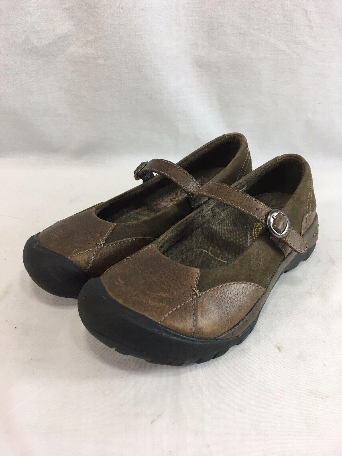 Zapatos Keen Mary Janes Para Mujer Casual Casual Casual Comfort Correa De Cuero Marrón 9  ganancia cero