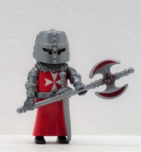 Bichons Maltais Chevalier Rouge Playmobil  croisés Johanniter Crusader Rock Custom RAR