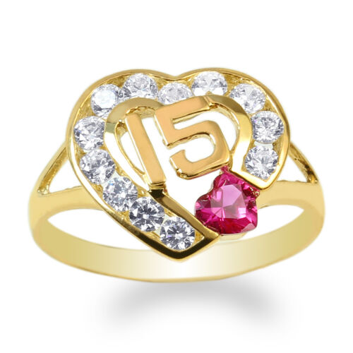 JamesJenny 14K Yellow Gold 15 Anos Quinceanera Ruby CZ Heart Ring Size 4-10