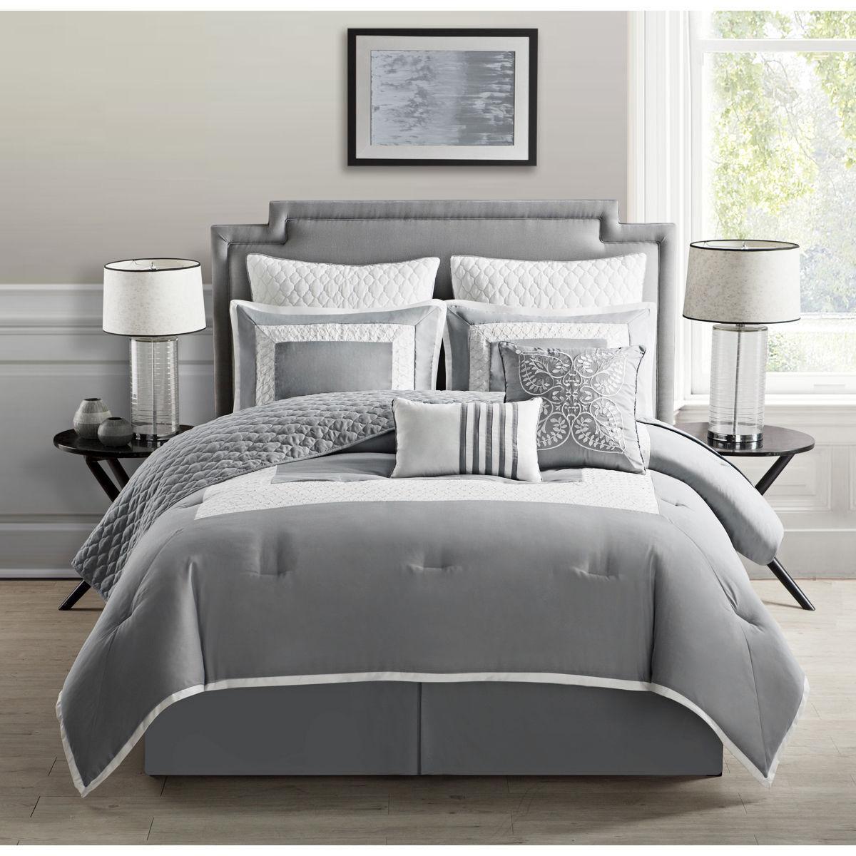 Embroiderot grau Blau Saga Border Design Comforter Coverlet 9 pcs King Queen set