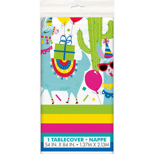 LLAMA BIRTHDAY PLASTIC TABLE COVER ~ Party Supplies Cloth Decoration Rainbow