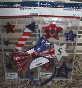 Headband Bow USA Red White Blue Window Clings July 4th Decor Celebrate Summer