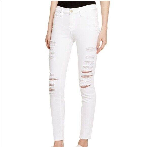 Frame Denim Le Skinny de Jeanne Jeans White Distressed Le color Rip white Sz 27