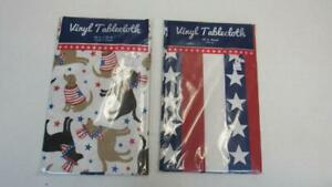 Vinyl-Tablecloth-Memorial-Day-4th-of-July-2-Styles-Flags-Dogs-4-Sizes-UPick-NEW