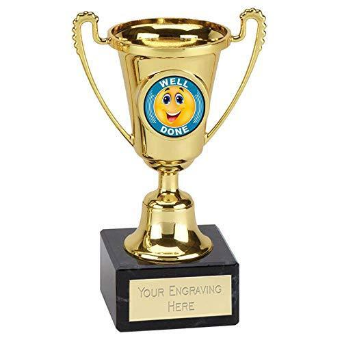 Trophy Well Done Cup 140 mm resin on marble base Free Engraving up to 45 Letters