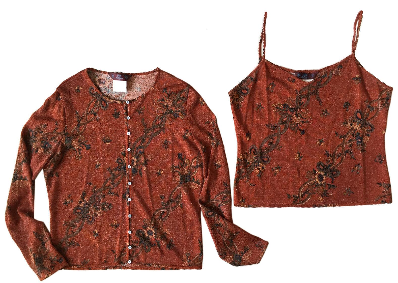 JOHN GALLIANO Knit 2-Pc Sweater Set Rust Floral Sparkle Sz L Cardigan & Tank Top