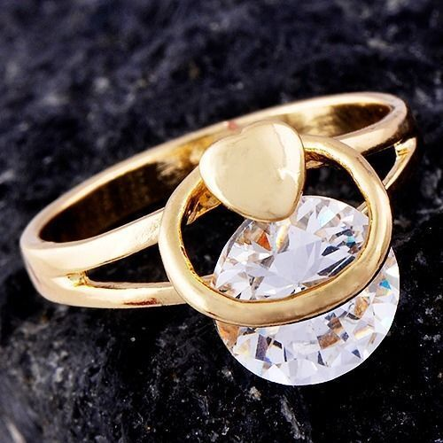 Love Cool Yellow Gold Filled Cubic Zirconia Womens Heart Ring Size 9 Gothic