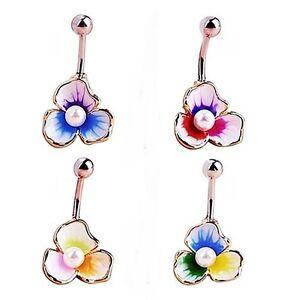 Piercing-Nombril-A-chirurgical-raffine-fleur-perle-de-culture-bijoux-fantaisie