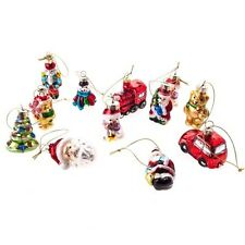 Gisela Graham Set of 12 Retro Glass Decorations -Glass Christmas Tree Decoration