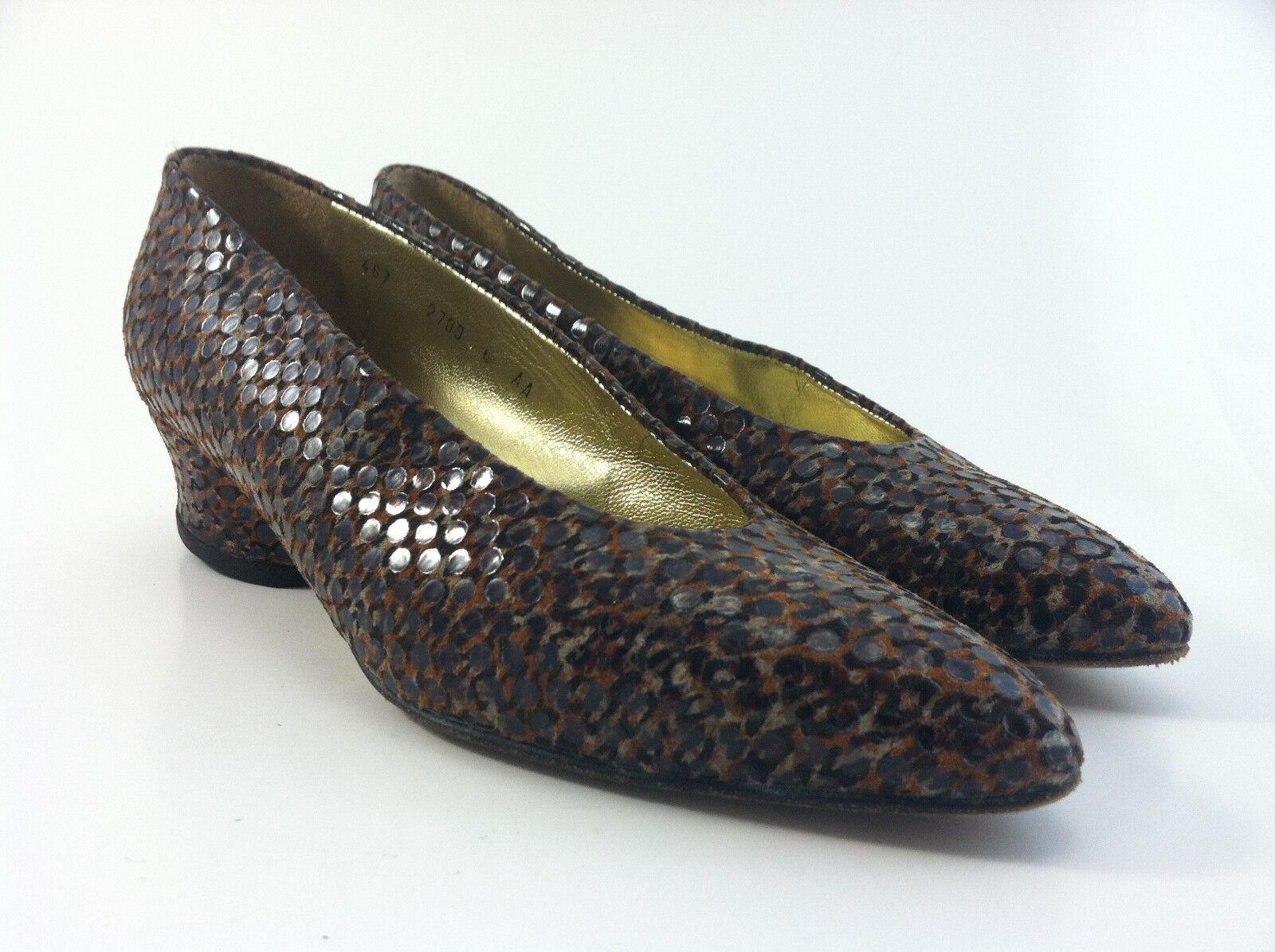 Walter steiger donna low heel classic pump animal print soft fabric Dimensione 6 AA