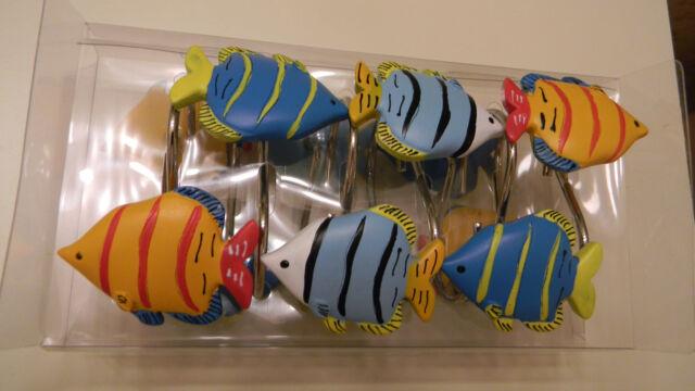 BETTER HOME Set 12 Resin Shower Curtain Hooks COLORFUL FISH Nautical Ocean NIP