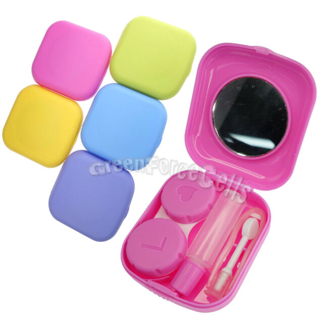 Mini Pocket Contact Lens Case Mirror Box Holder Container For Travel Outdoor