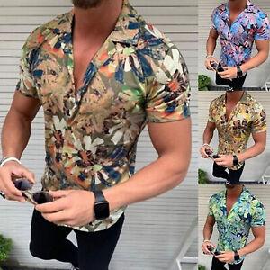 Mens-Short-Sleeve-Summer-Holiday-Beach-Hawaii-Blouse-Tops-Shirts-V-neck-T-Shirt