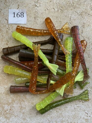 "Item#168 24ct 3/""-4/"" Variety colors Shrimp Tails fishing bait soft plastics"