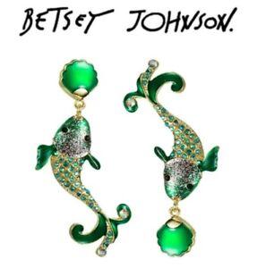 Betsey-Johnson-Crystal-Glitter-Fish-Earrings-Multi-Color-US-Seller