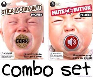 COMBO - Mute Button & Cork Funny Pacifier Joke Set - BigMouth Inc