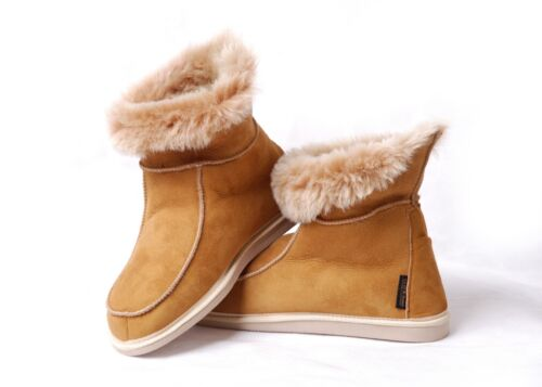 Luxury Hand crafted Men/'s Women/'s Sheepskin Moccasin Boot Slippers Natural Fur