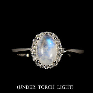 Unheated-Oval-Moonstone-Fire-Blue-7x5mm-White-Cz-925-Sterling-Silver-Ring