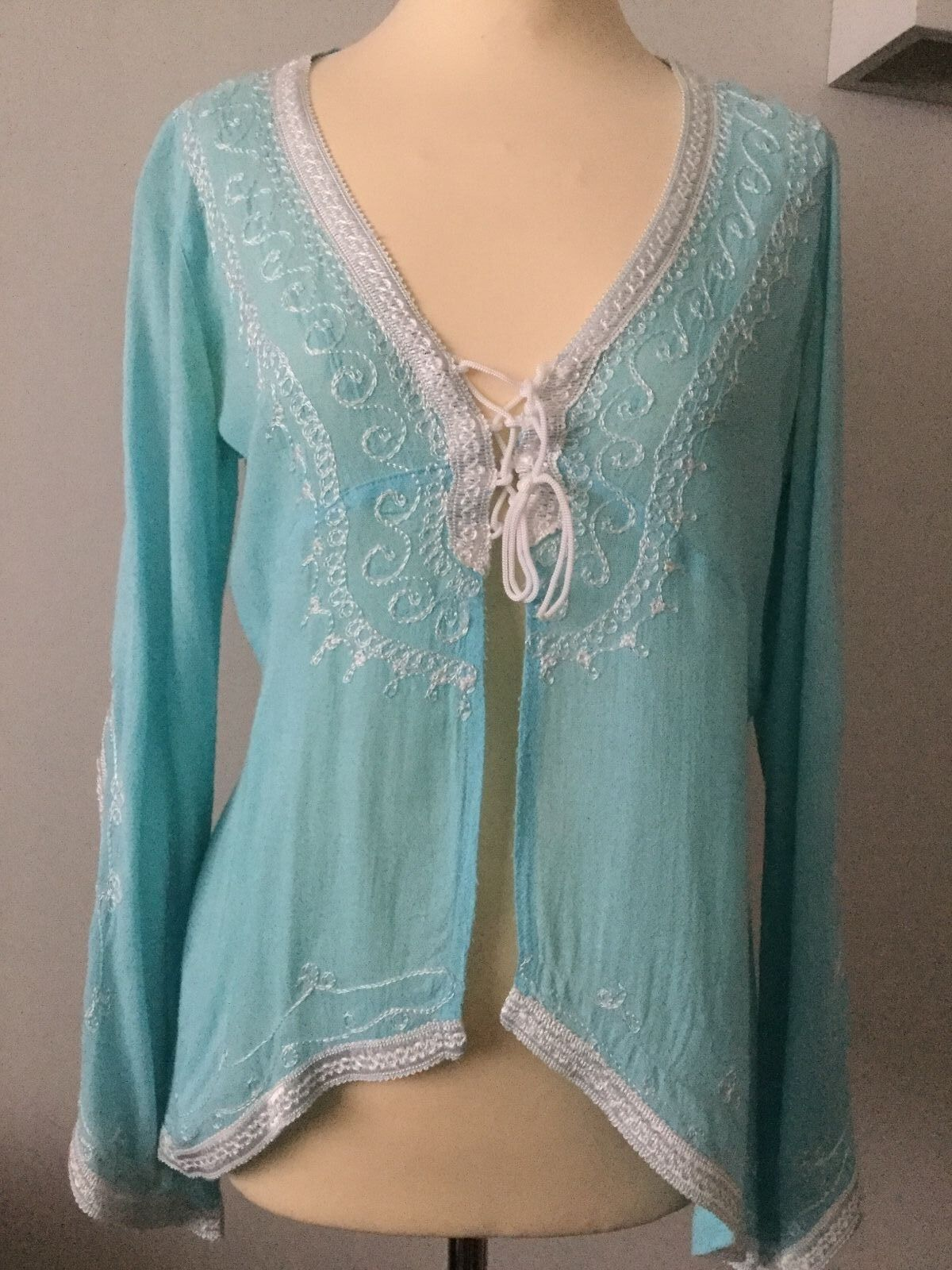 DONALE  ST. BARTS ST. TROPEZ TURQUOISE COTTON EMBROIDErot TOP ONE Größe WORN ONCE