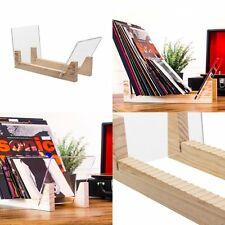 """12"""" LPs Vinyl Record Storage Natural Solid Wood Crystal Clear Acrylic Holder"""