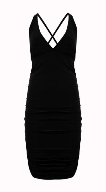 WOMENS LADIES CELEBRITY RUCHED CROSSBACK PLUNGE BUST SHORT MINI BODYCON DRESS