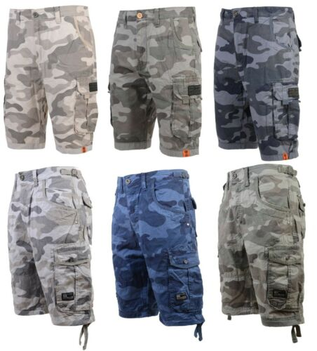 NEW Crosshatch Combat Camo Army Ryehill Shorts Cargo Three Quarter Knee Length