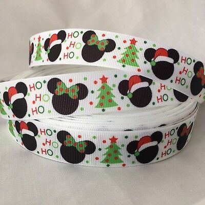 YARD CHRISTMAS  DISNEY POLKA MICKEY MINNIE MOUSE EARS SANTA  GROSGRAIN RIBBON