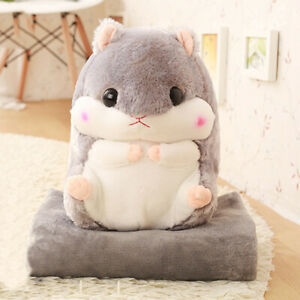 MagiDealMagiDeal Hamster Bolster Throw Pillow with Warm Blanket Sofa Cushion