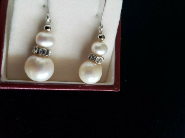 Lovely white 10-11 mm natural freshwater pearl drops on solid silver hooks