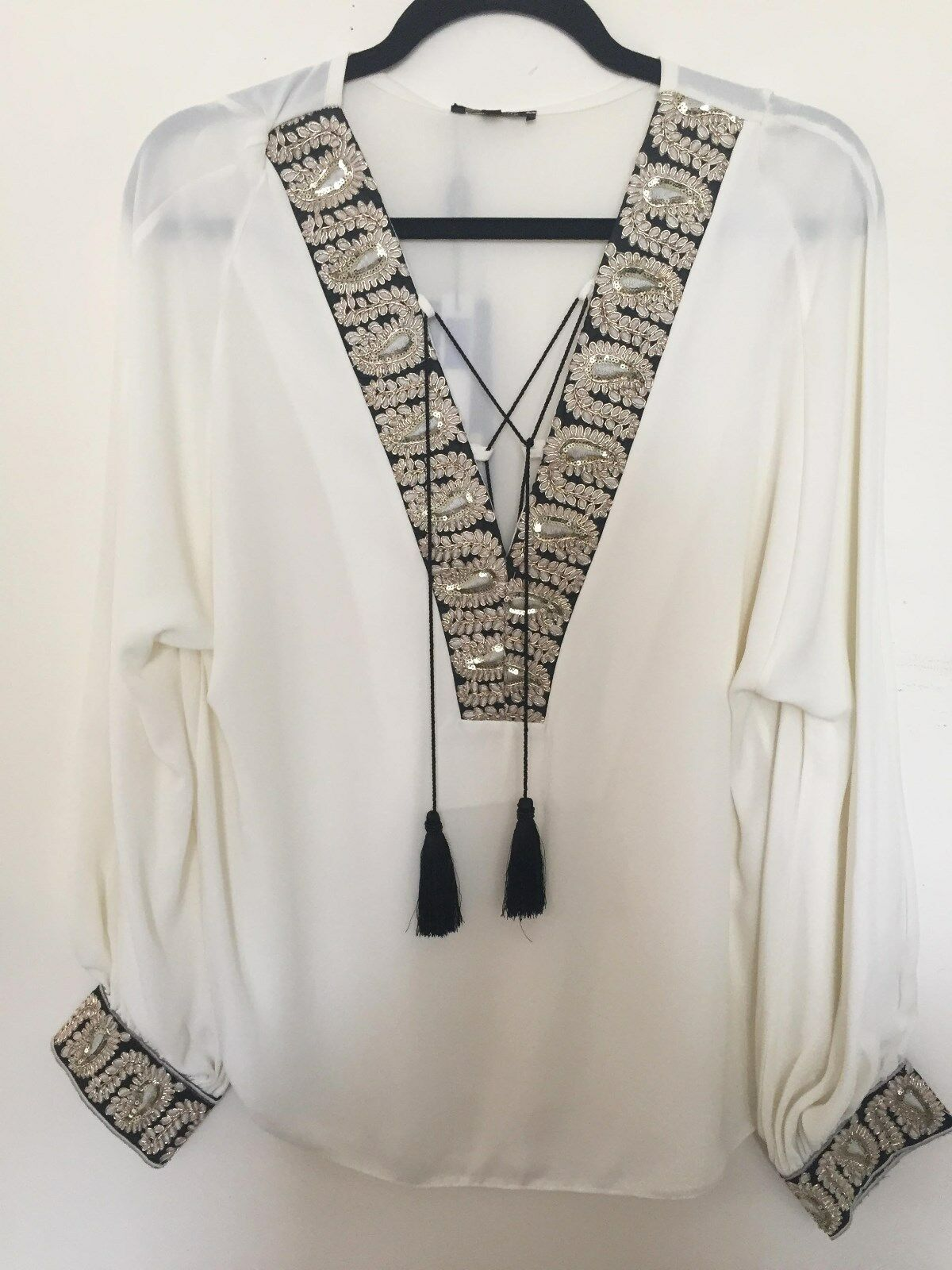 NEW BRIEFLY PARIS  IVORY & Gold EVENING DAY PARTY TOP SHIRT BLOUSE Größe UK12 US8