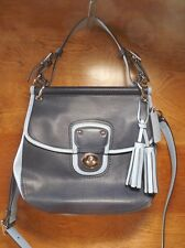 Coach Legacy 2 Tone Leather Willis Convertible bag Navy Chambray Blue 22409