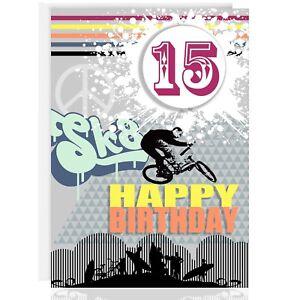 Happy Birthday Greeting Card Personalise Name Age Bmx Teenage