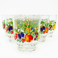Vintage Retro Shot Liqueur Liquor Glasses Fruits Set 6