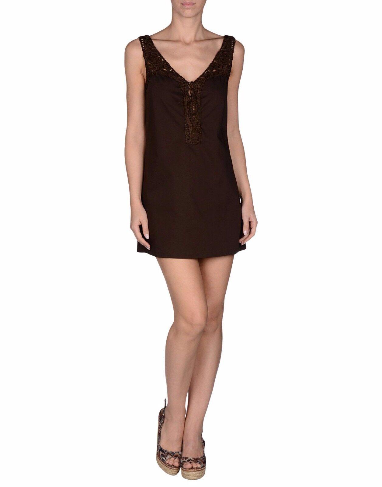 NEW  Ermanno Scervino Dress Beachwear braun Cotton Stretch Tunic IT42  US S