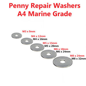 Penny-Repair-Washers-A4-MARINE-GRADE-Stainless-Steel-M3-M4-M5-M6-M8