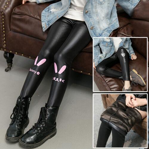Kids Girls Winter Warm Printed Long Pants Elastic Waist Faux Leather Trousers