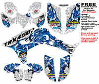 Trx450r Logo Bomber Graphic Kit White Blue Full Wrap 08-newer Honda Trx 450